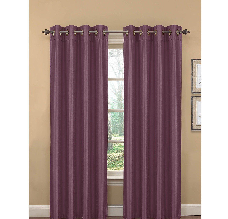 Girls Plum Purple Window Curtain 96 Inch Pair Panel Set