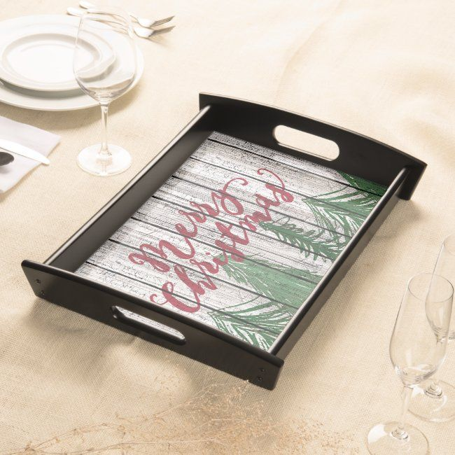 Merry Christmas On Weathered Wooden Planks Pattern Serving Tray | Zazzle.com