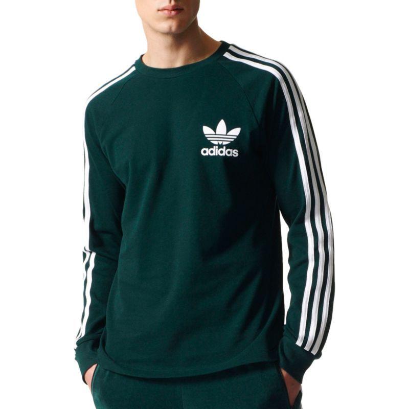 834fbfbea adidas Originals Men's 3-Stripes Pique Long Sleeve Shirt, Size: Large, Green