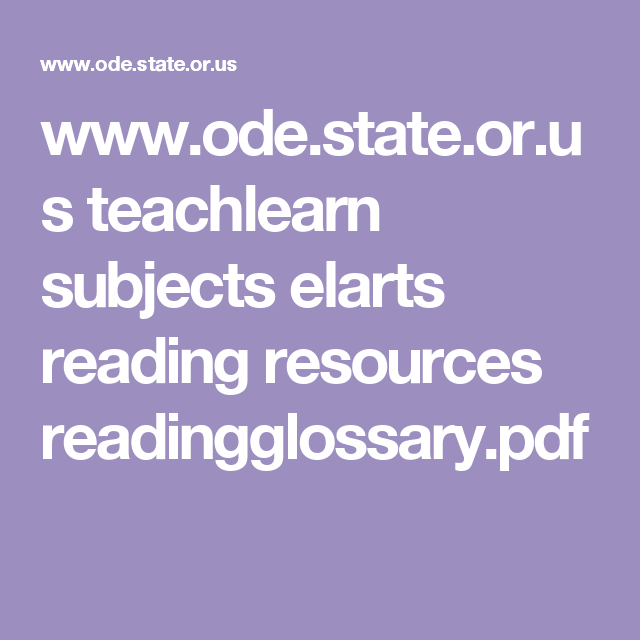 www ode state or us teachlearn subjects elarts reading