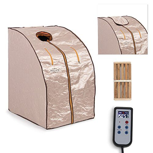 Bellavie Portable Therapeutic Infrared Sauna Spa XL FIR Full Body Portable w/ Chair (Black/Pink)  Wooden massage foot roller to pressure the relevant points of your foot that helps improve blood circulation on your body Finally can be affordable and used in privacy of your home or apartment or any living environment without large spaces & special communications for it Safe, easy fingertip hand...
