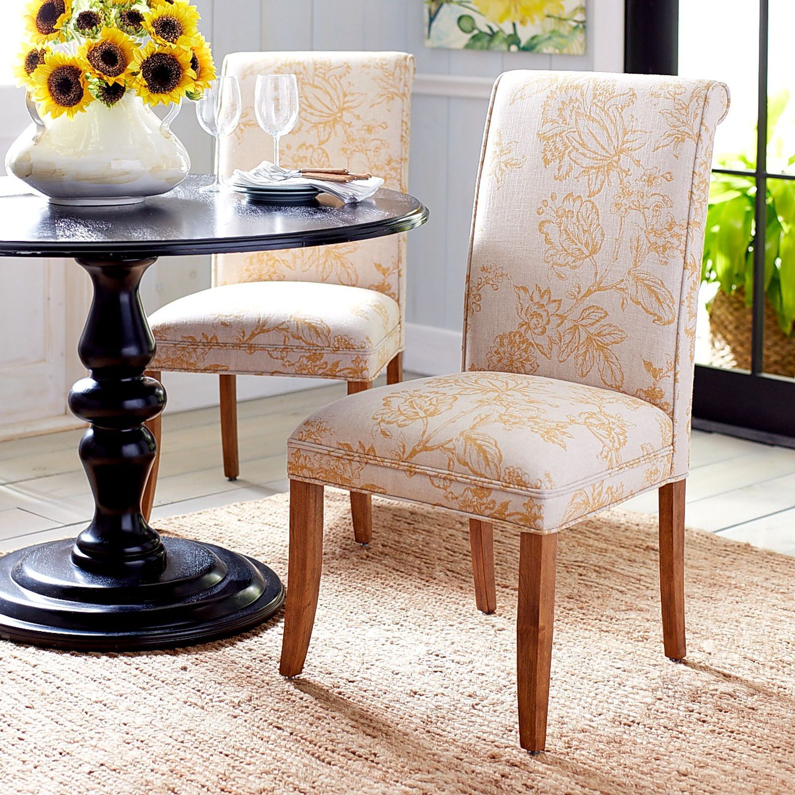 Hand upholstered in beautiful linen blend print our Angela