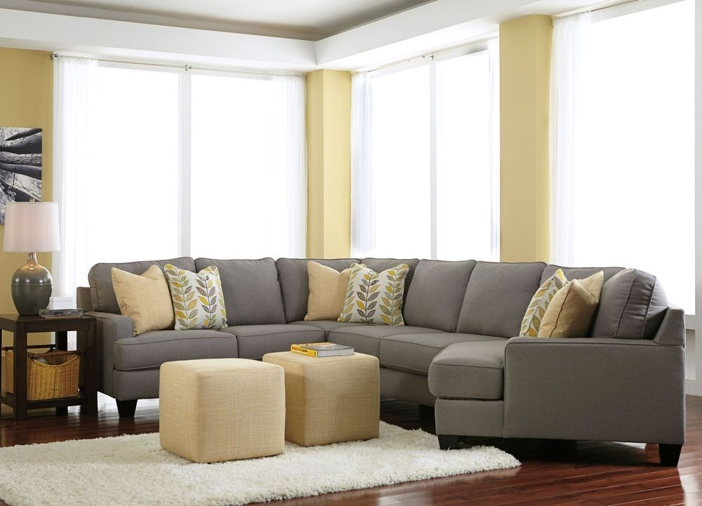 Best Malcolm 4Pcs Large Modern Gray Microfiber Sofa Couch 400 x 300