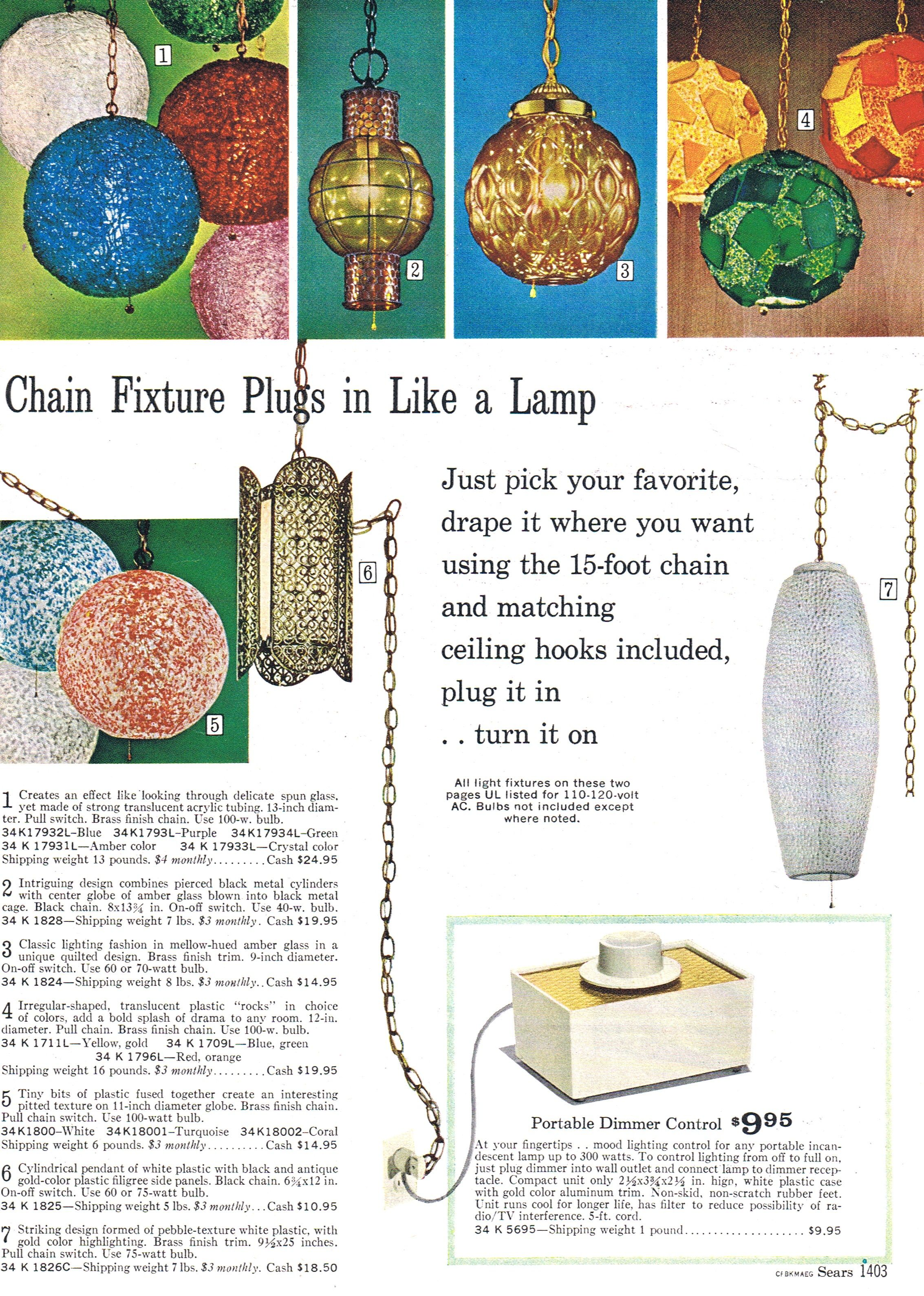 Sears 1968 Catalog Lighting Page Showing A Variety Of Swags
