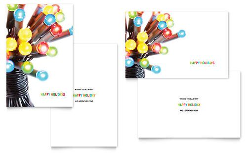Christmas Lights Greeting Card Template By Stocklayouts Christmas Card Template Free Greeting Card Templates Birthday Card Template