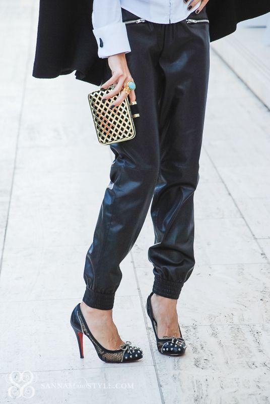 cfa7dc27713b jogging pants, zara jogging, leather effect trousers, faux leather pants