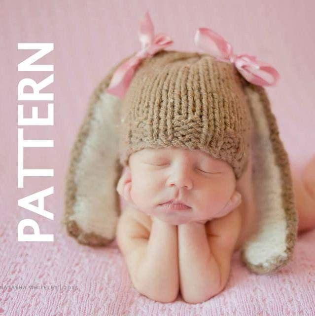 0d8eb6b7599 Floppy Ears Baby Bunny hat - Knitting PATTERN