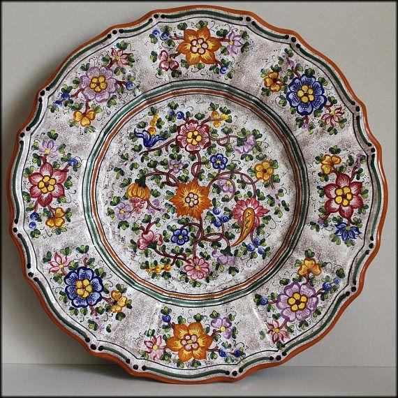 Vintage Deruta Italy Extra Large Serving Display Ceramic Platter Handmade And Hand Painted Italian Majolica Fine Art Ceramics Ceramic Platters Deruta Pottery