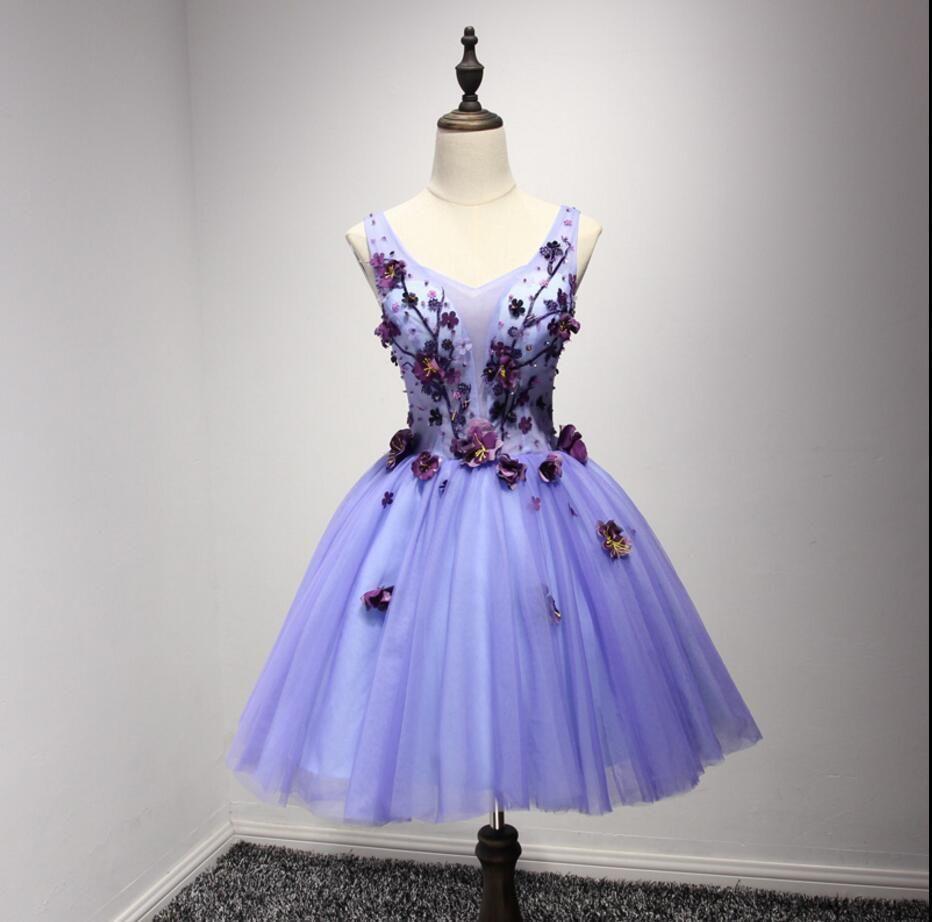 Purple v neckline two straps beaded homecoming prom dresses