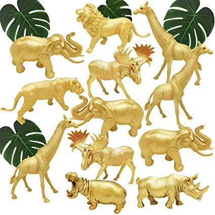 Amazon Com Bolzra Metallic Gold Plastic Animal Figurines Toys 12pcs Jumbo Safari Zoo Animal Fig Zoo Animal Baby Shower Safari Animal Figurines Animal Figures