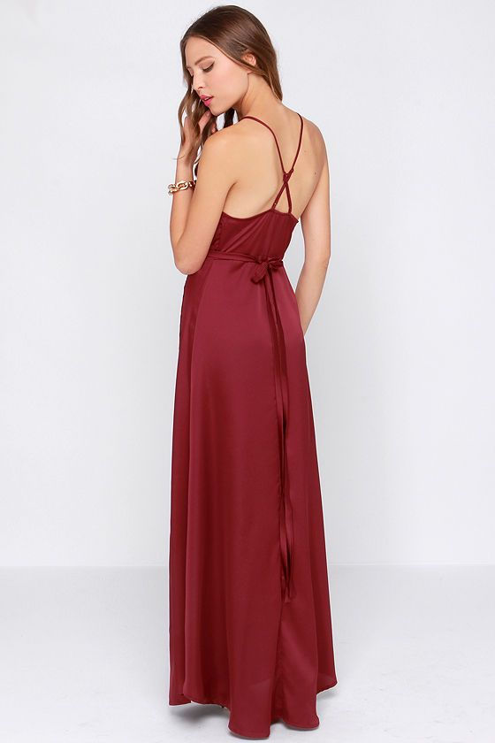 5c3acde695e Exclusive Long Answer Wine Red Wrap Maxi Dress