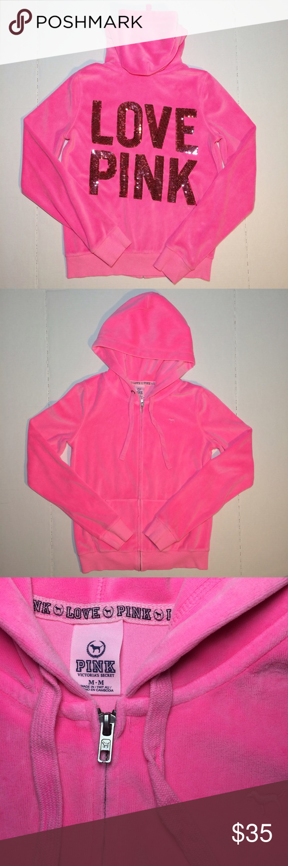 Sold Pink VS Love Pink L/S Zip Up Sweater Sz M Preowned VS Love ...