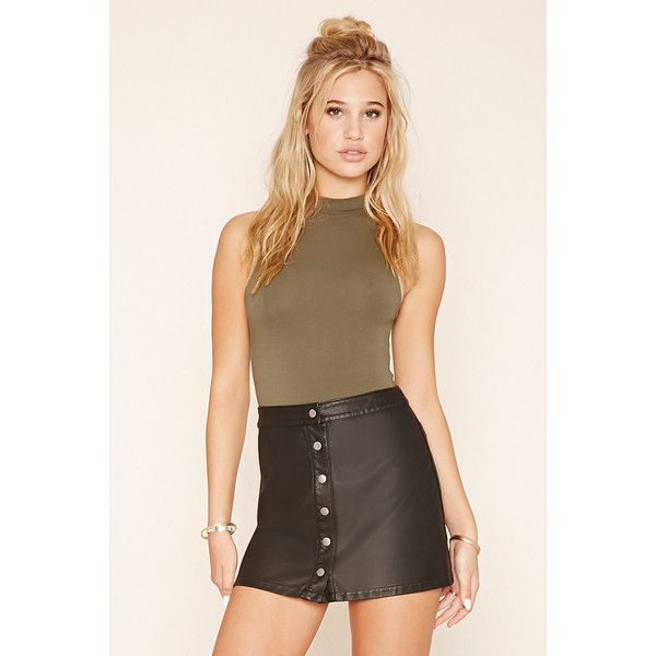 e4b49c042e Forever21 Button-Front Faux Leather Skirt ($16) ❤ liked on Polyvore  featuring skirts, mini skirts, black, button front skirt, button front mini  skirt, ...