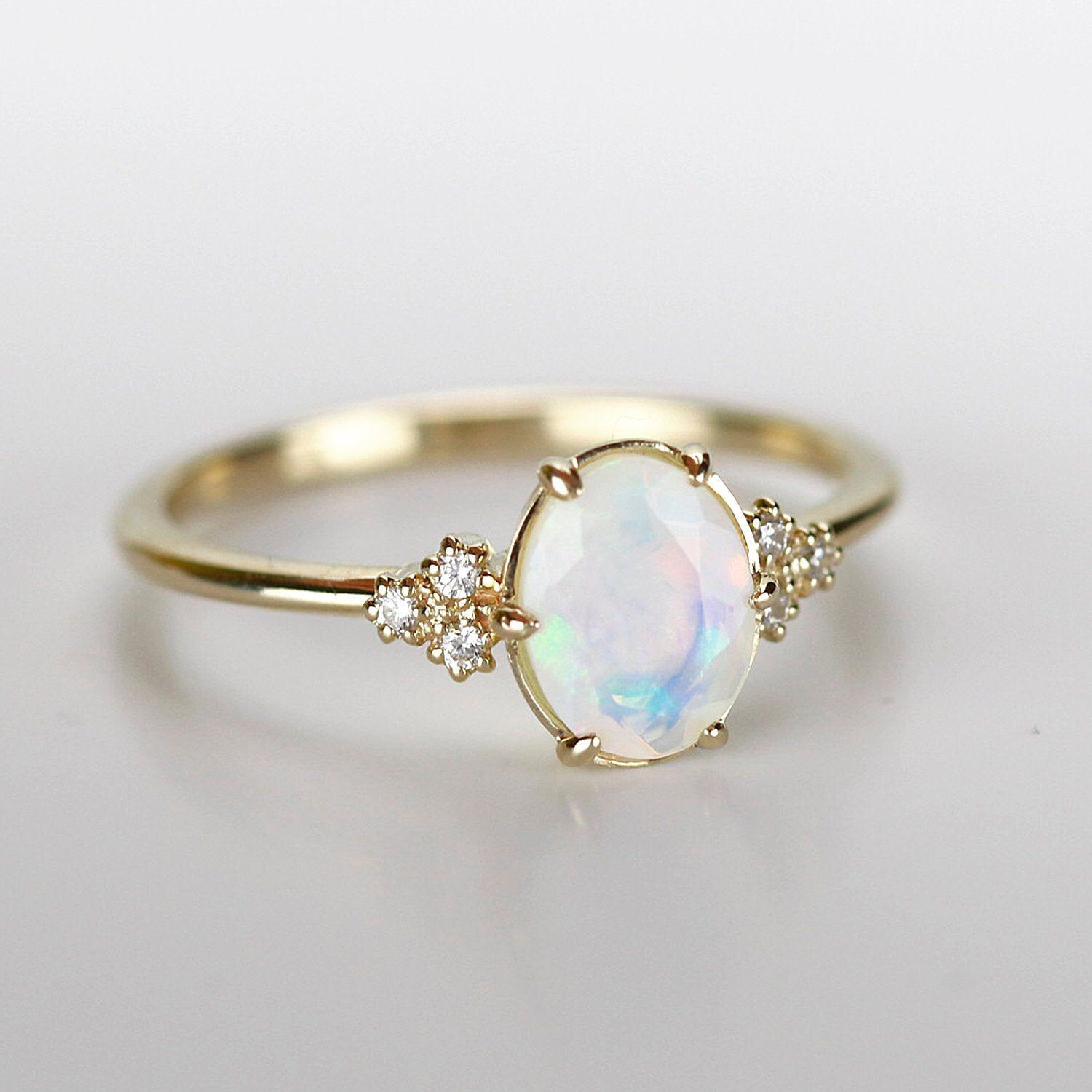 Opal Engagement Ring Opal And Diamond Ring Engagement Ring Delicate Ring Minimalist Engagement Ring Engagement Ring Diamonds Engagement Rings Opal Opal Wedding Rings Opal Engagement