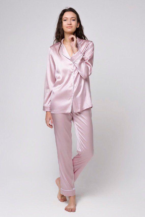 Silk pajama set Silk long pajamas Silk pyjamas Silk loungewear Pink pajamas  Silk pajama pink Gift fo d5ef458d2