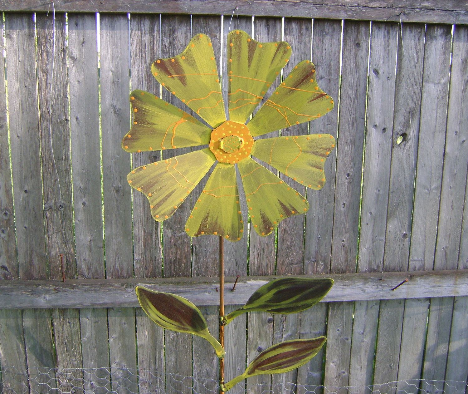Wild Flower Garden Stake, Metal Garden Art, Painted Flower Yard ...