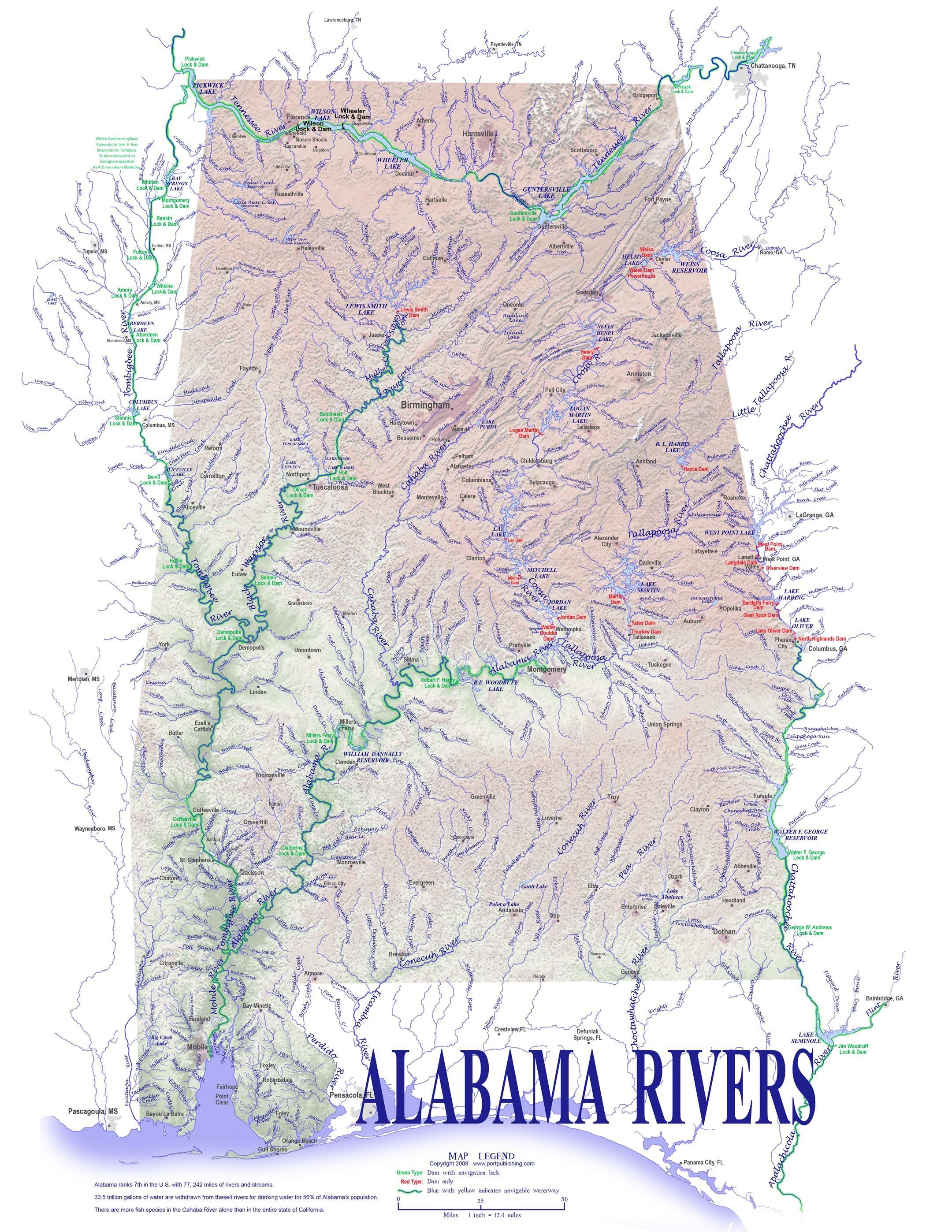 Alabama Rivers Map Maps Pinterest Alabama And Rivers - Us map rivers