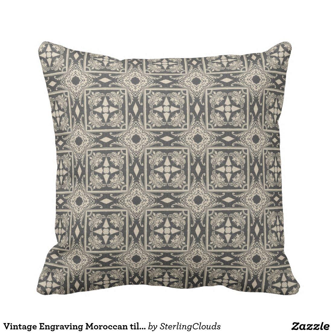 Vintage Engraving Moroccan tiles beige & gray Pillow