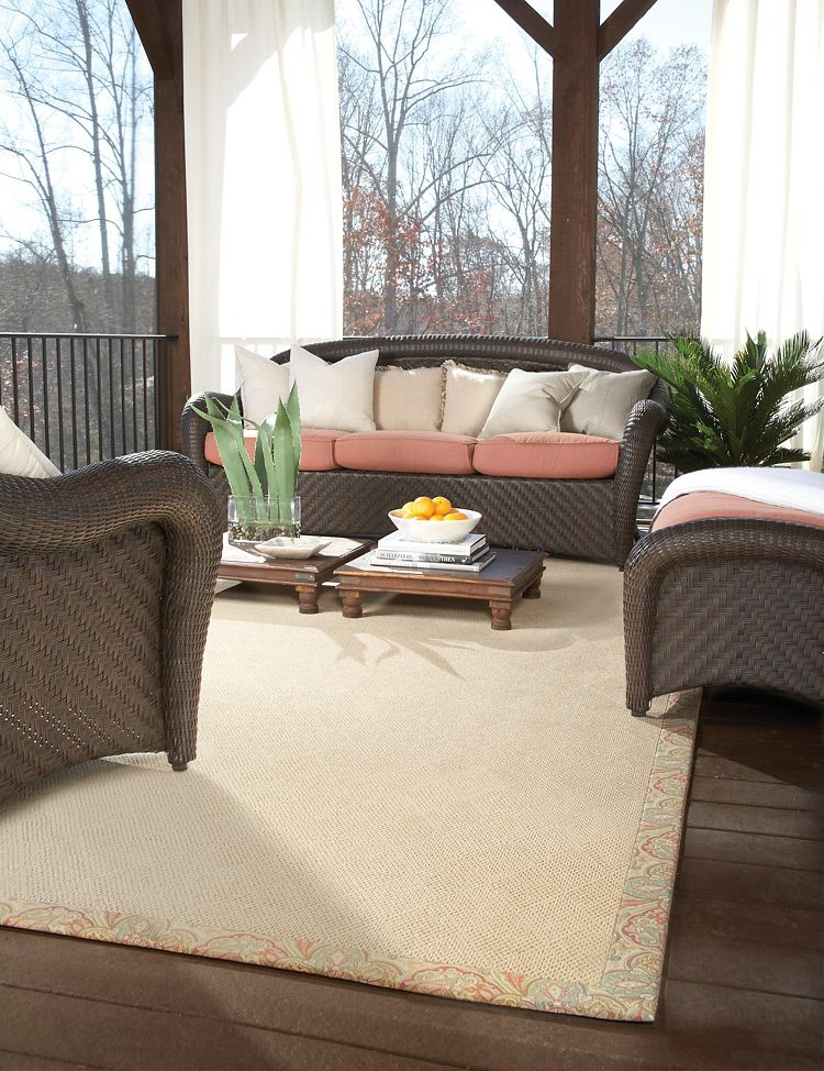 Capel S Creative Concepts White Wicker Rugs Help To Define Your Outdoor Living E Add Comfort