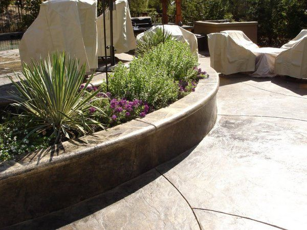Stamped Concrete Borders Wall Caps For Seat Walls And Planters Concrete Planters Stamped Concrete Wall Seating