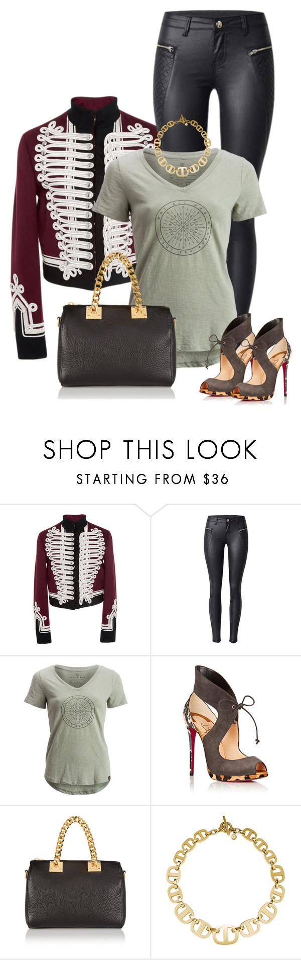 """Military chic"" by ksims-1 ❤ liked on Polyvore featuring Burberry, United by Blue, Christian Louboutin, Sophie Hulme and Michael Kors"