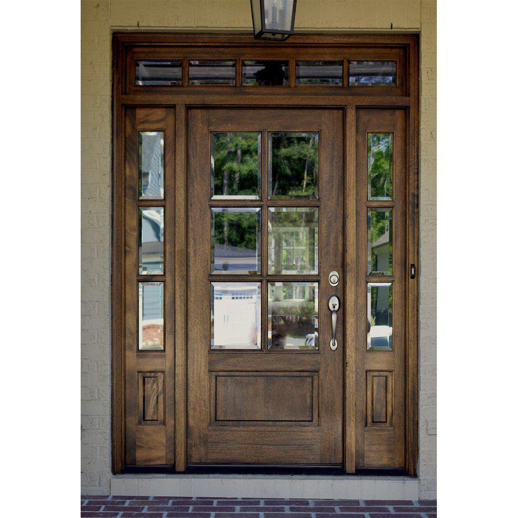6 Lite Farmhouse True Divided Lite Entry Door With Sidelites Transom Entry Door With Sidelights Exterior Doors Farmhouse Doors
