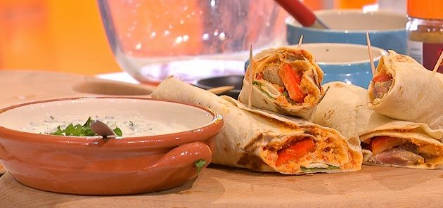 Red Pepper Houmous With Spicy Lamb Wraps Recipe - Sainsburys