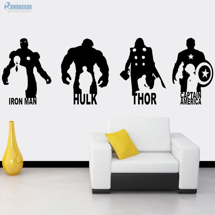 [Visit To Buy] Large Size Avengers Wall Stickers Home Decor Living Room  IRON MAN