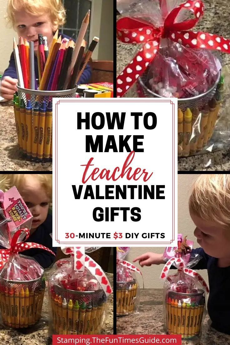 A Simple Teacher Gift Basket Idea! DIY Valentine Gift Baskets For Your Favorite Teacher Or Office Worker – This simple crayon-themed #Basket #Gift #Idea #simple #teacher