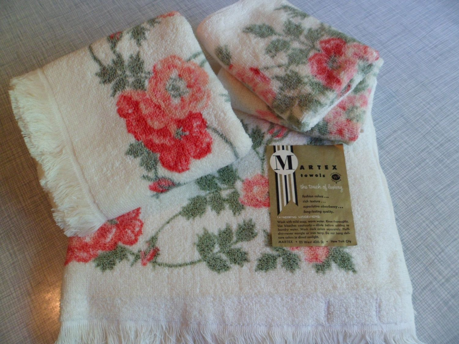 Vintage Mid Century Old Stock Martex Bath Towel Set Large Bath