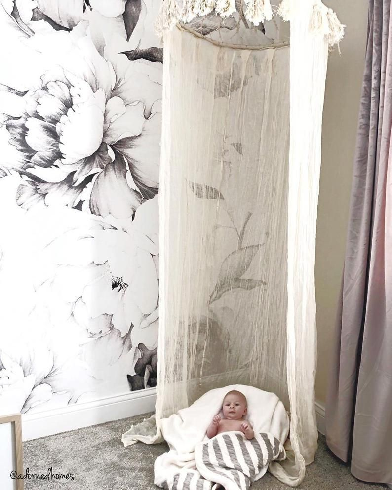 White Peony Removable Wallpaper Peonies Wall Mural Black And Etsy In 2020 Removable Wallpaper Peony Wallpaper Wall Murals