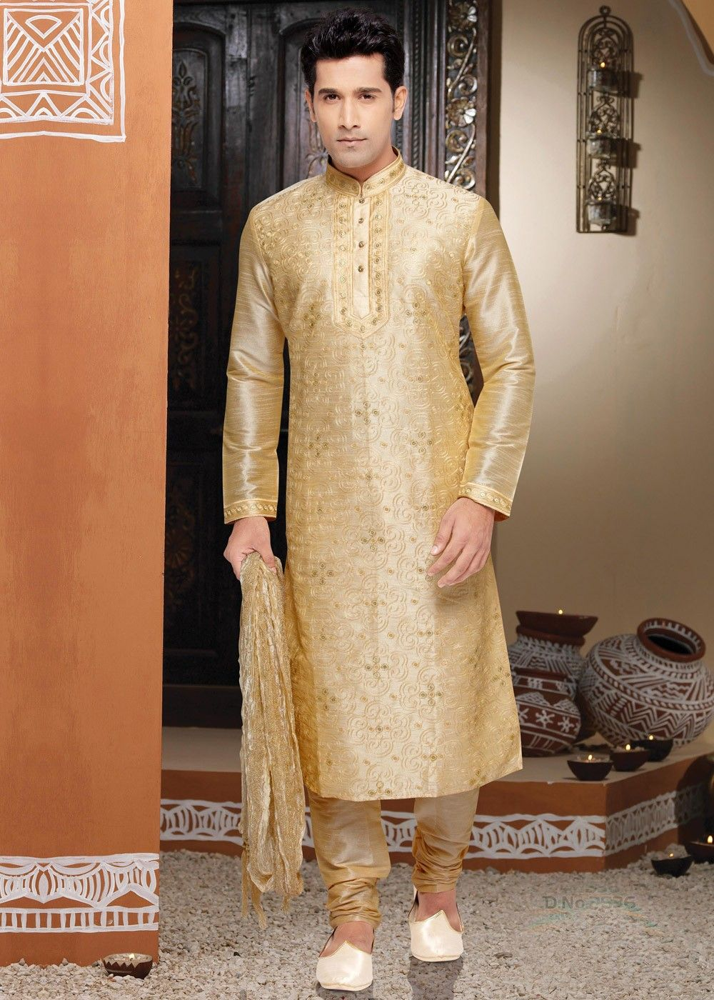 ebb3bd5c17 Readymade #golden #kurta in #dupion #silk with full length sleeves and  #mandarin collared #yoke enhanced by all over #embroidery.
