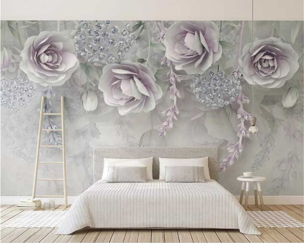 Custom Wallpaper Photo Modern Purple 3d Embossed Flower M