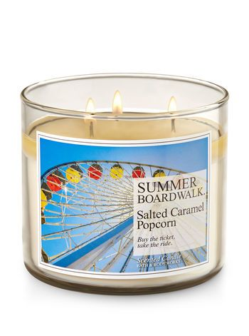 Summer Boardwalk Salted Caramel Popcorn 3 Wick Candle Bath And Body Works Summer Candles Salted Caramel Popcorn Bath Body Works Candles