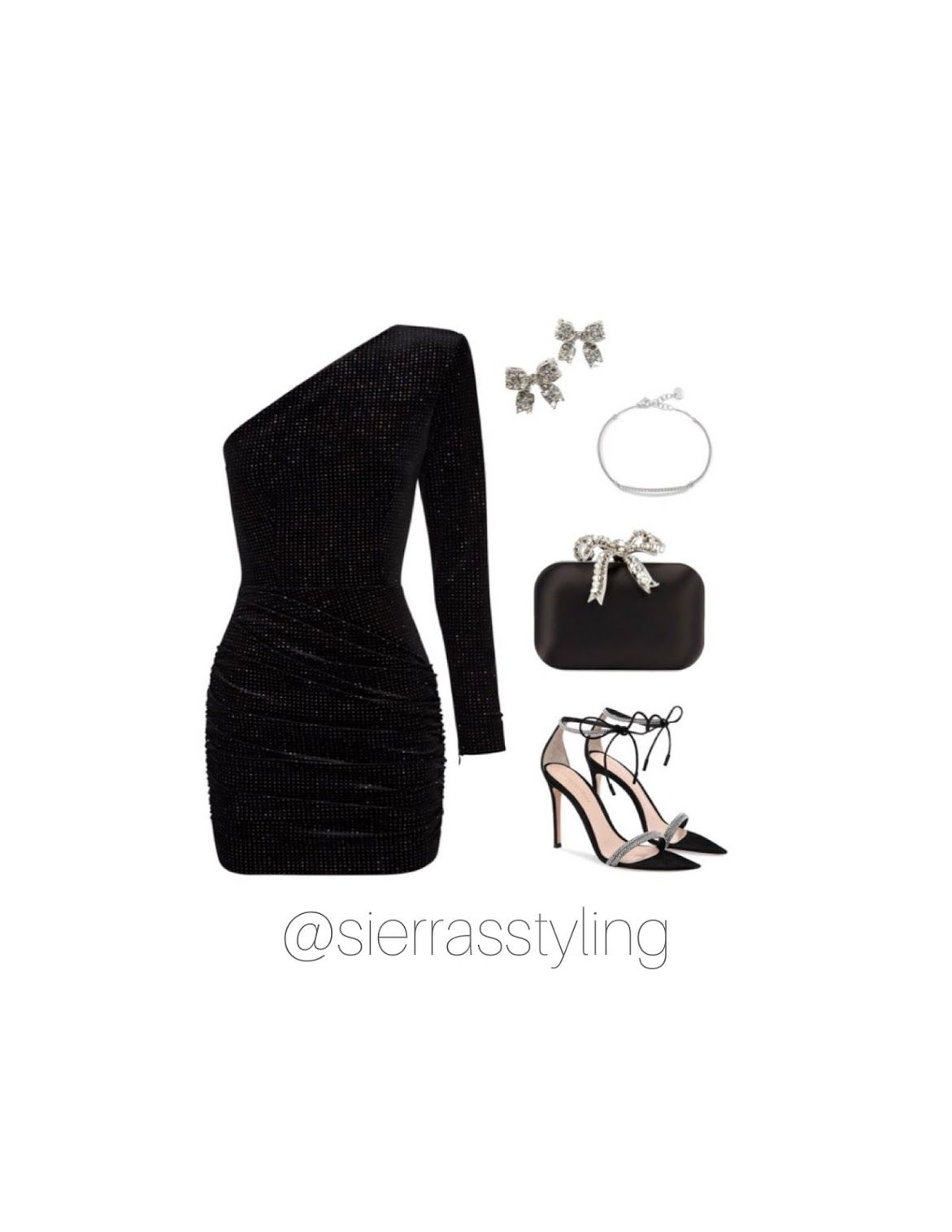 Black One Shoulder Mini Dress With Accessories Virtual Fashion Pretty Outfits Mini Dress [ 1515 x 1171 Pixel ]