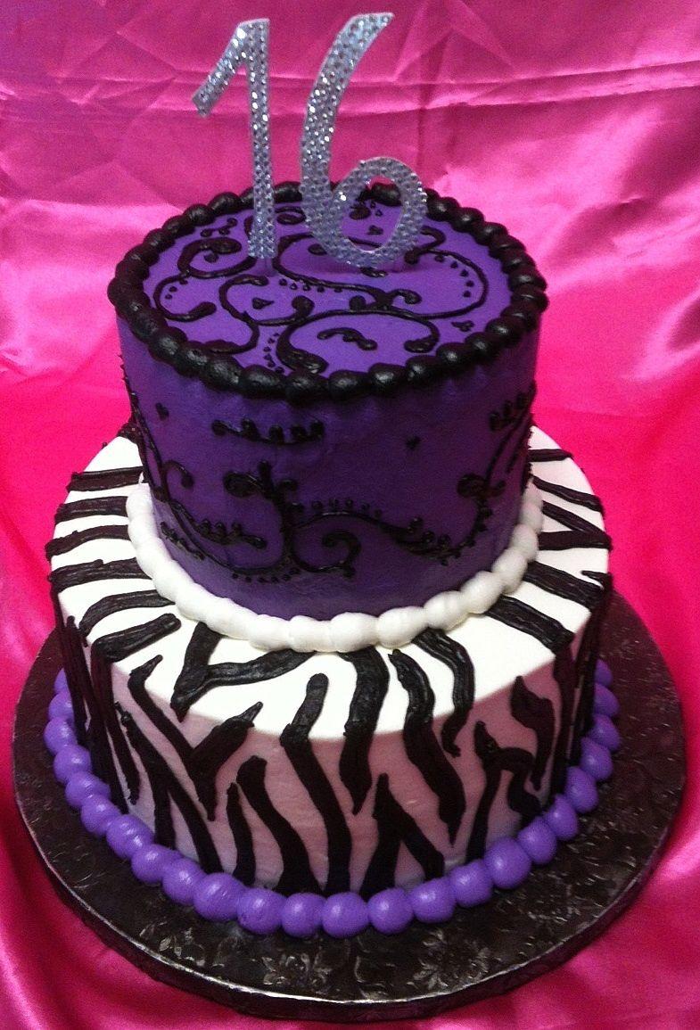 Purple and zebra stripe cake My Portfolio of Cakes Pinterest