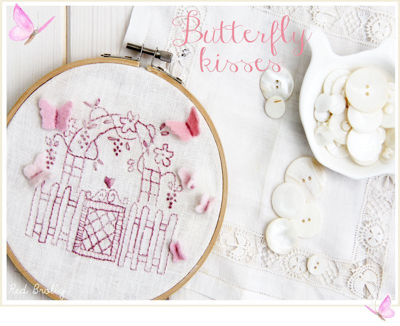 Embroidered-butterfly-wall-art