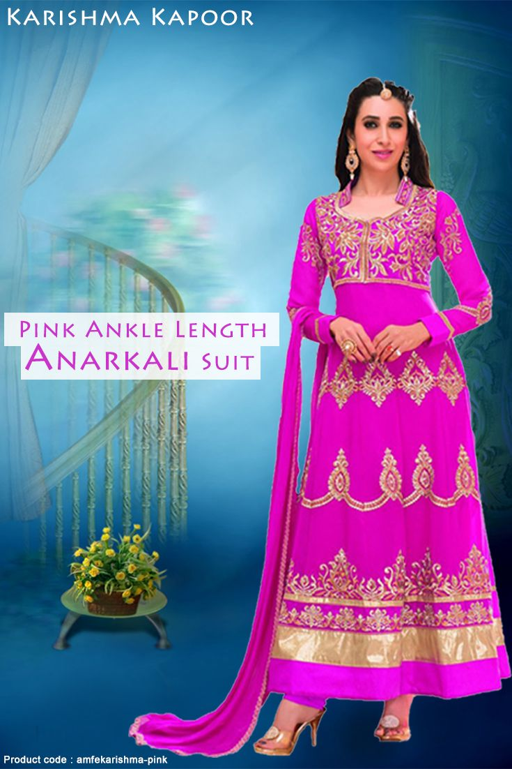 Pink faux georgette ankle length anarkali suit with a combination of