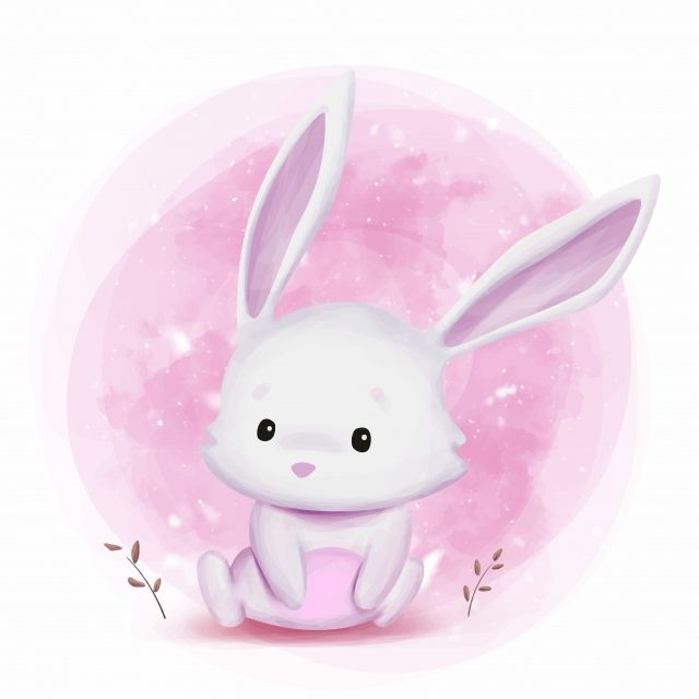 Cute Bunny Watercolor Illustration Friendship Day