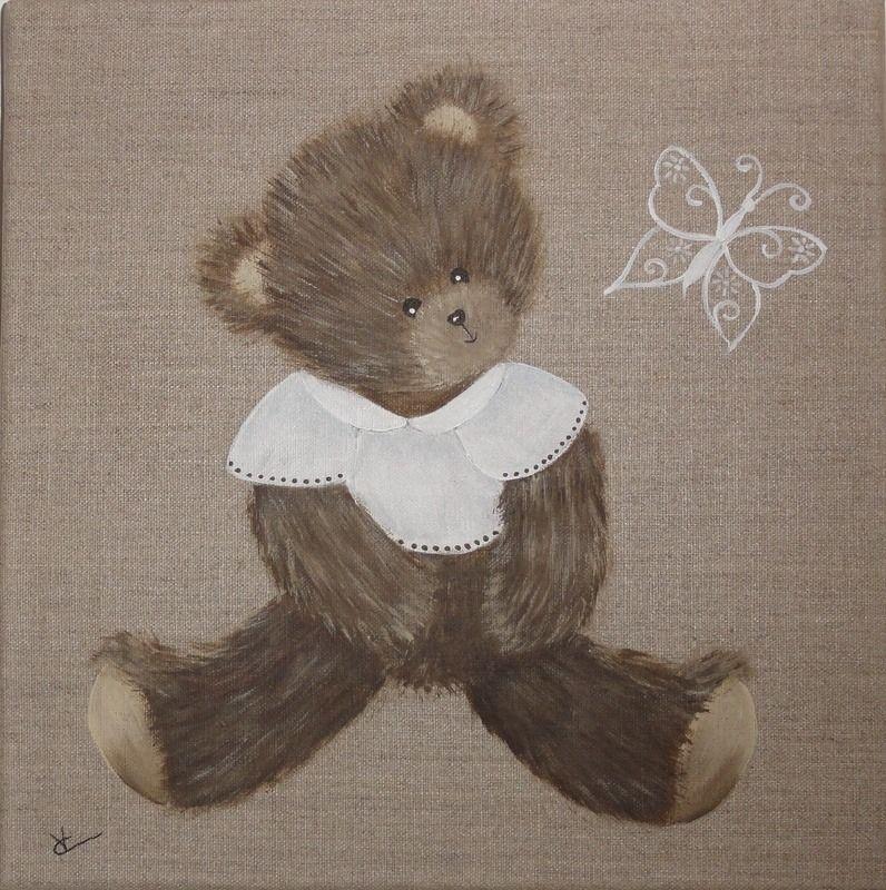 non disponible - peinture ourson sur toile de lin