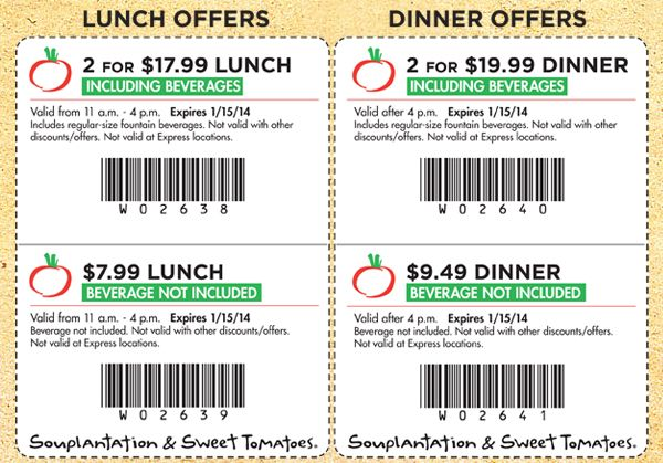 picture regarding Sweet Tomatoes Printable Coupons identify Pin upon Souplantation Discount codes