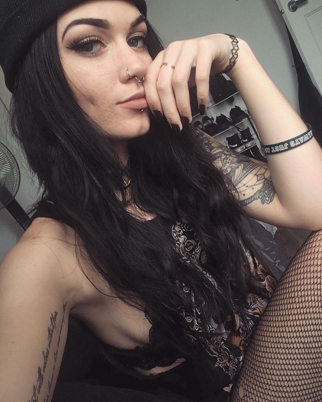 Piercings black hair small tits