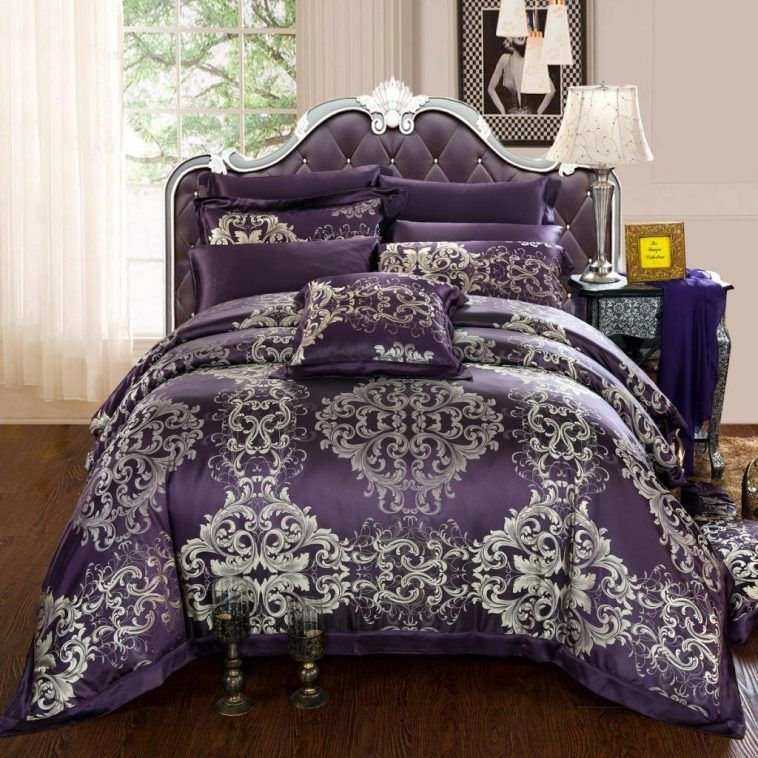 Luxury Classic Queen Size Bed With Deep Purple And Silver Patterned