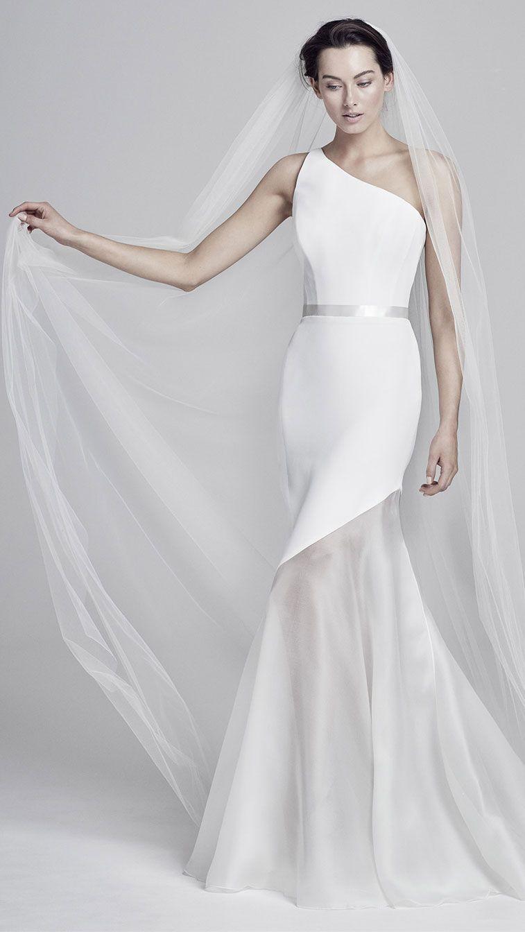 32 Sleek Chic And Cosmopolitan Wedding Dresses Minimalist Wedding Dress Simple Wedding Wedding Dresses Minimalist Wedding Dresses Ball Gown Wedding Dress [ 1344 x 757 Pixel ]