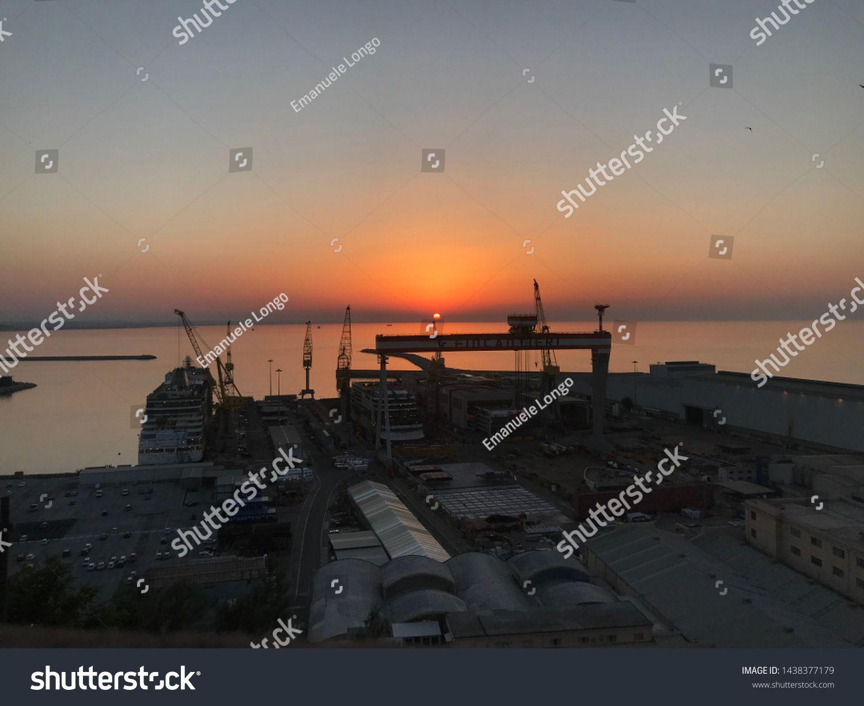 Ancona Italy June 28 2019 Fincantieri Naval Industry At Sunset