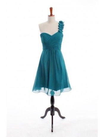 Teal A-line One-shoulder Knee-length Chiffon Short Bridesmaid Dress