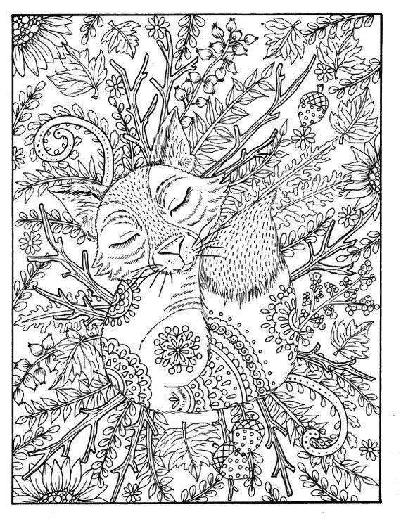 Fall Fox Coloring Page Digital Coloring Adult Coloring Digi