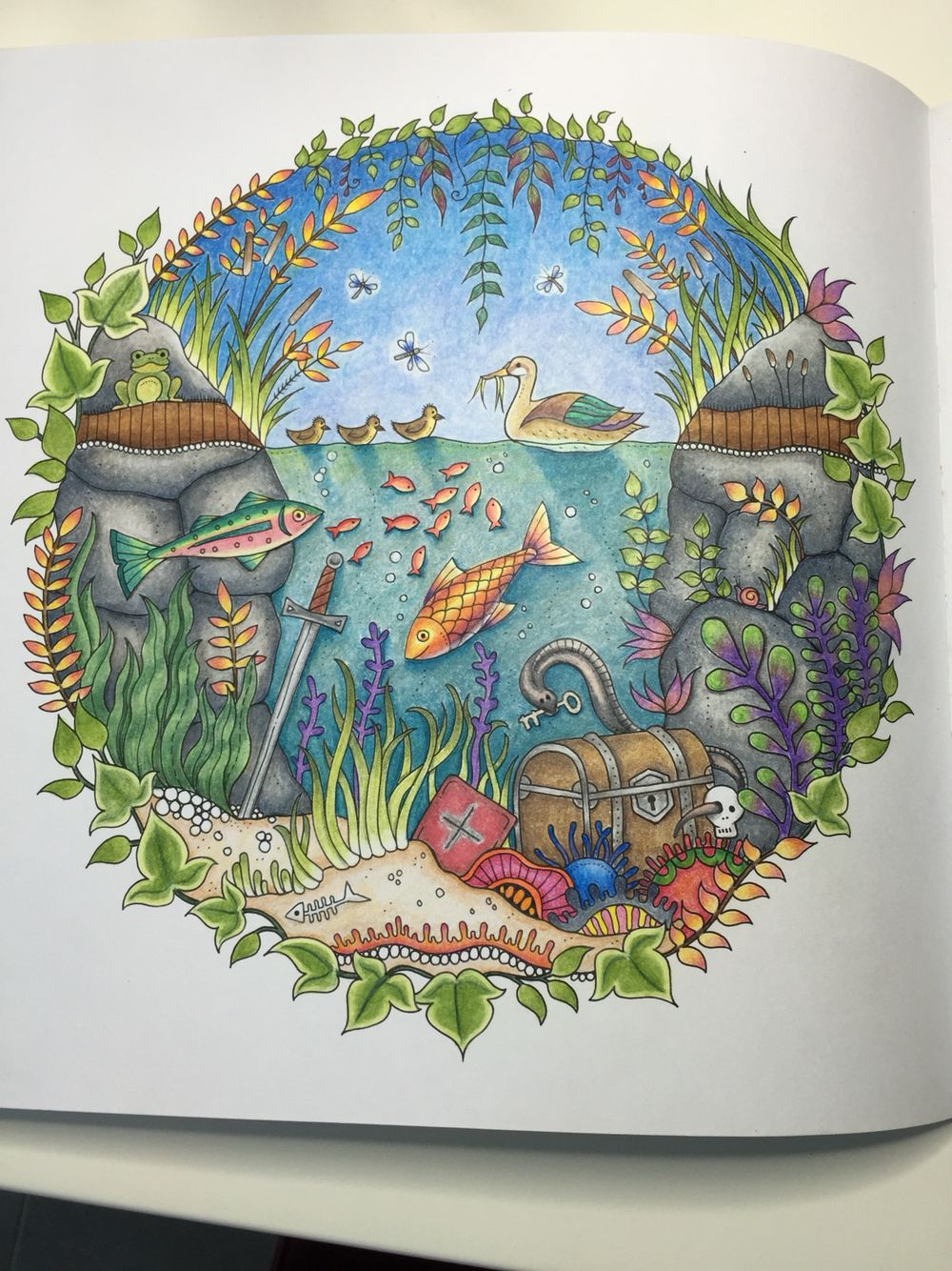 Colored By Marnie Nunes Johanna Basford Enchanted Forest Duck Pond I Colored Th Enchanted Forest Coloring Enchanted Forest Coloring Book Forest Coloring Book