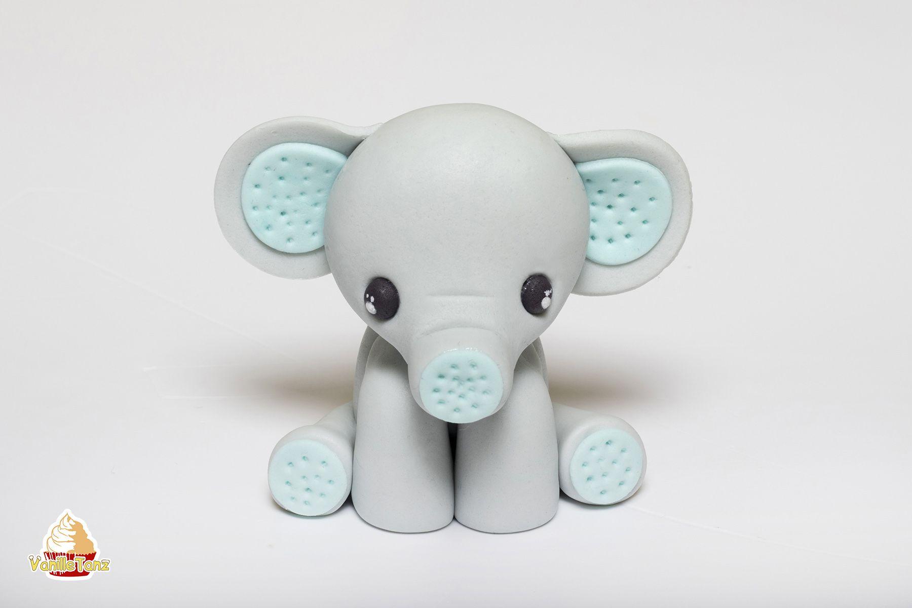 Super Anleitung für einen Elefanten Topper aus Fondant. Kleiner Elefant als Tortendekoration für den Kindergeburtstag ist bei den Kleinen sehr beliebt. #fondant