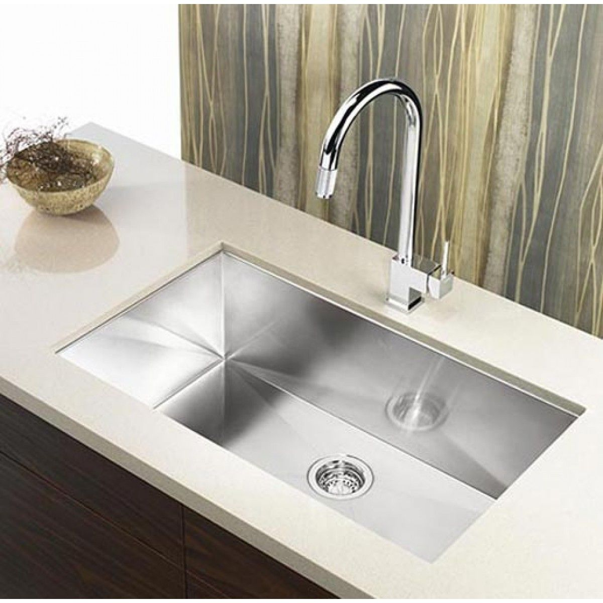 36 Inch Stainless Steel Undermount Single Bowl Kitchen Sink Zero